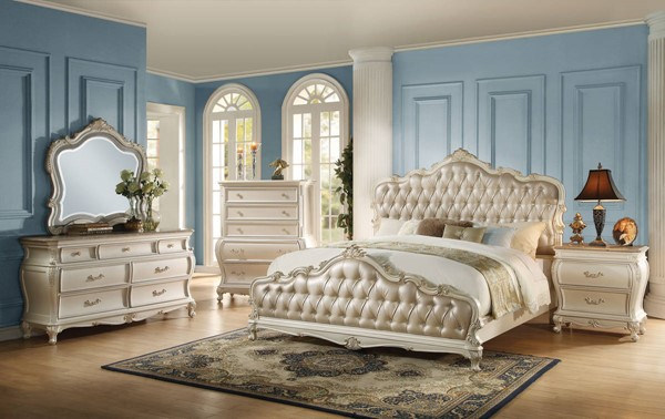 Chantelle Rose Gold Pearl White PU Wood 2pc Bedroom Set W/Queen Bed ACM-2353-BR-S3