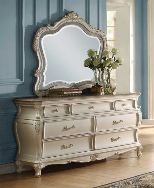 Acme Furniture Chantelle Pearl White Dresser and Mirror ACM-23544-DRMR