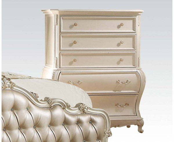 Chantelle Pearl White Wood 5 Drawers Chest ACM-23546