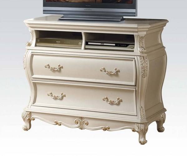 Chantelle Pearl White Wood 2 Drawers TV Console ACM-23547