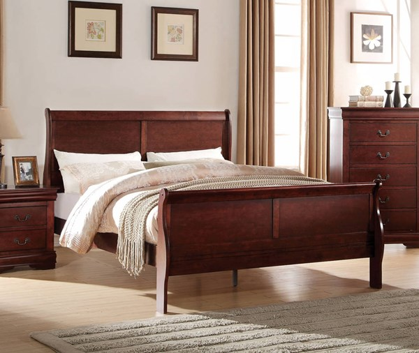 Louis Philippe Casual Cherry Pine Solid Wood MDF Twin Bed ACM-23760T