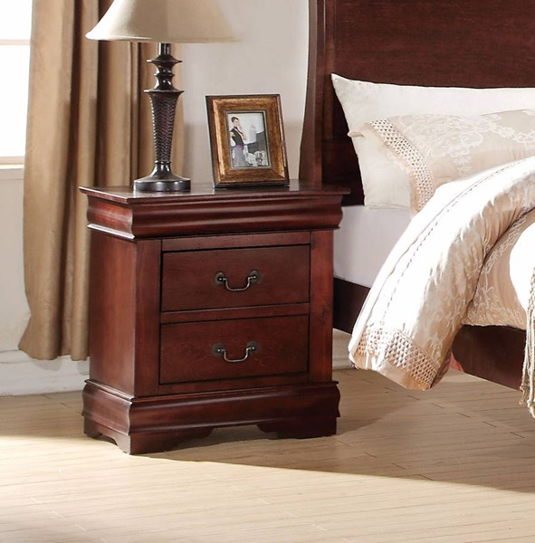 Louis Philippe Casual Cherry Pine Solid Wood MDF Nightstand ACM-23753