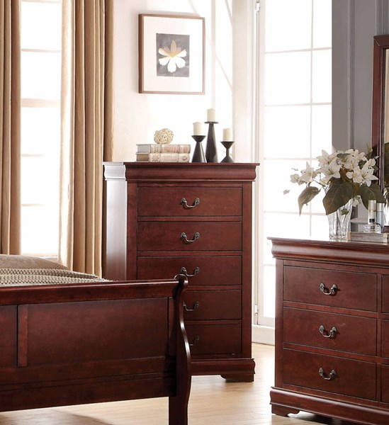Louis Philippe Casual Cherry Pine Solid Wood MDF Chest ACM-23756