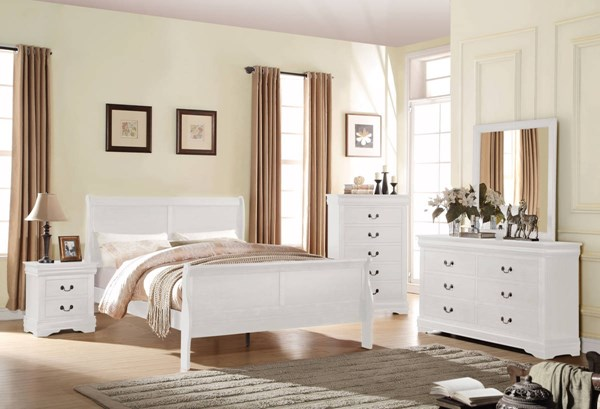 Louis Philippe White Pine Solid Wood MDF 4pc Bedroom Set w/Full Bed ACM-237-BR-S7