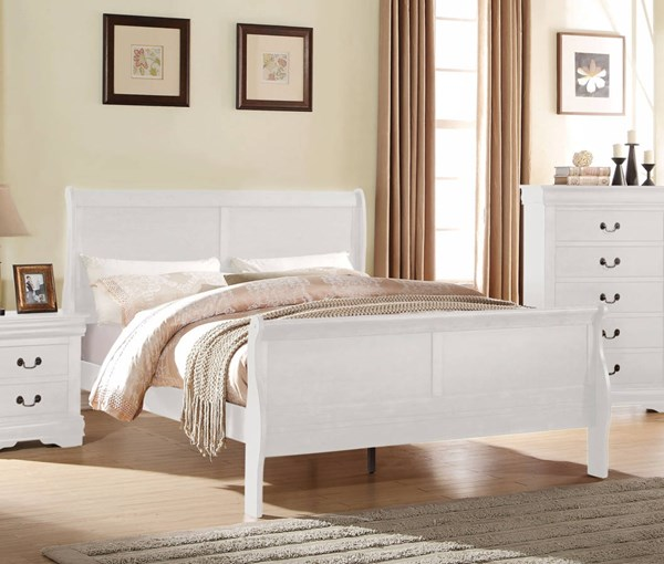 Louis Philippe Casual White Pine Solid Wood MDF Queen Bed ACM-23830Q