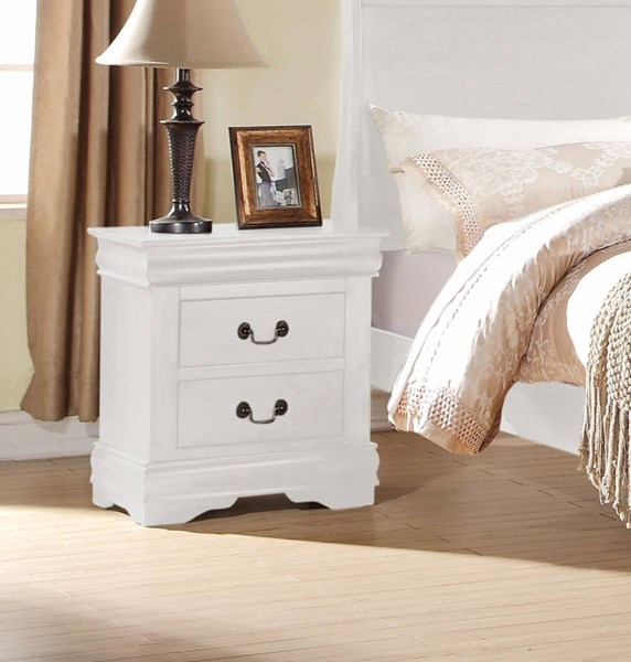 Louis Philippe Casual White Pine Solid Wood MDF Nightstand ACM-23833