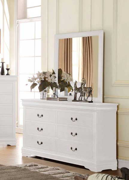 Louis Philippe Casual White Pine Solid Wood MDF Dresser & Mirror ACM-2383-DRMR
