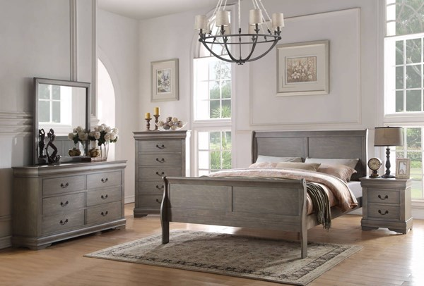 Louis Philippe Gray Pine Solid Wood MDF 4pc Bedroom Set w/Full Bed ACM-237-BR-S8
