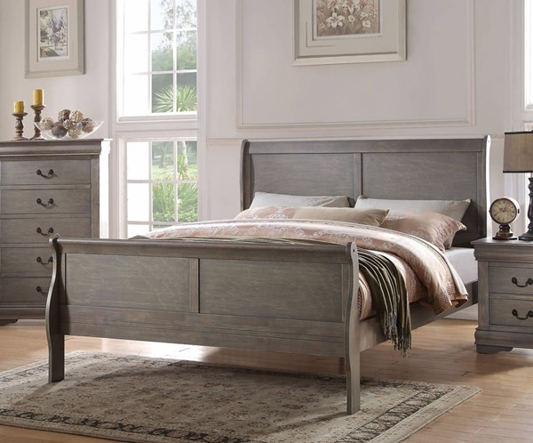 Louis Philippe Casual Antique Gray Pine Solid Wood MDF Queen Bed ACM-23860Q