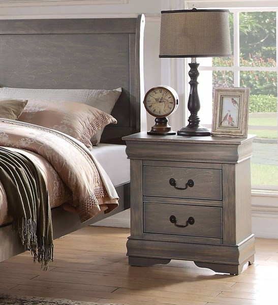 Louis Philippe Casual Antique Gray Pine Solid Wood MDF Nightstand ACM-23863
