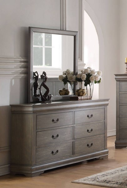 Louis Philippe Antique Gray Pine Solid Wood MDF Dresser & Mirror ACM-2386-DRMR
