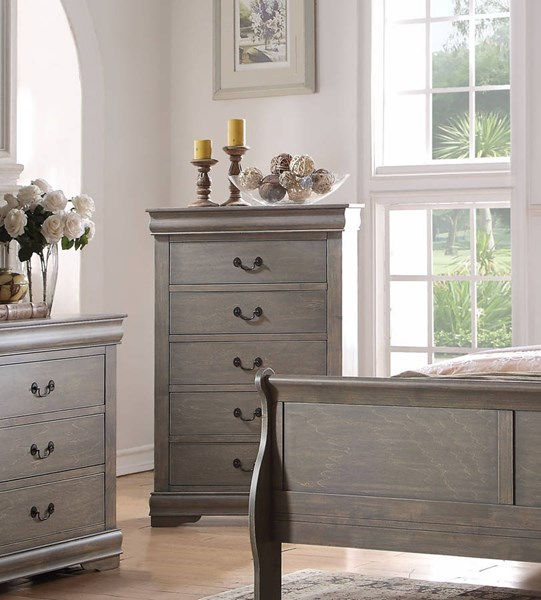 Louis Philippe Casual Antique Gray Pine Solid Wood MDF Chest ACM-23866