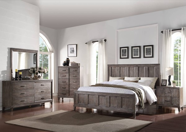 Bayonne Modern Burnt Oak Poplar Wood Master Bedroom Set ACM-2389-BR