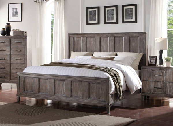 Bayonne Modern Burnt Oak Poplar Wood King Bed ACM-23887EK