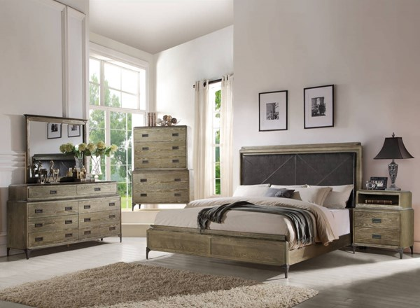 Athouman Weathered Oak Wood PU 2pc Bedroom Set W/Queen Bed ACM-239-BR-S1