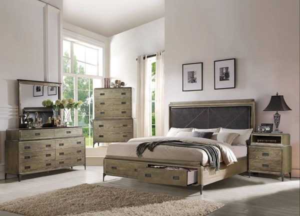 Athouman Weathered Oak Wood PU 2pc Bedroom Set W/Cal King Storage Bed ACM-239-BR-S6