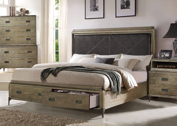 Athouman Transitional Weathered Oak Wood PU King Storage Bed ACM-23917EK