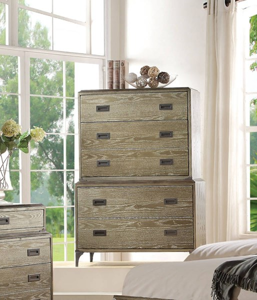 Athouman Transitional Weathered Oak Wood Chest ACM-23926