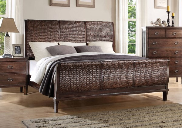 Mazen Cherry Oak Wicker Wood Queen Bed ACM-23950Q