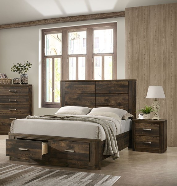 Acme Furniture Elettra Rustic Walnut 2pc Bedroom Set with Queen Storage Bed ACM-2420-BR-S1