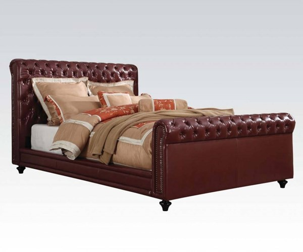 Norris Burgundy PU Wood Queen Panel Tufted Bed ACM-24350Q