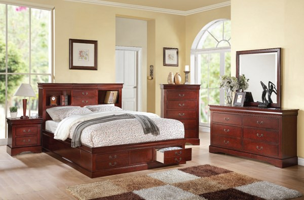 Louis Philippe III Casual Cherry Wood 2pc Bedroom Set W/Queen Bed ACM-24374-BR-S3