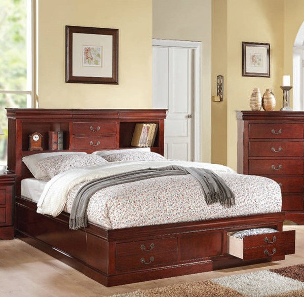 Louis Philippe III Cherry Wood Queen Bed w/Storage ACM-24380Q