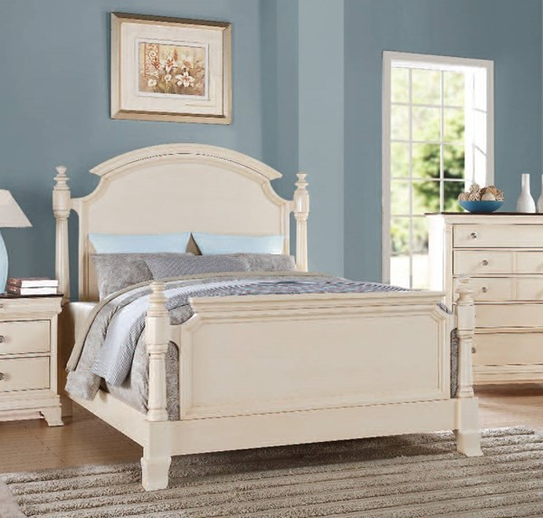 Tahira Transitional Ivory Wood Panel Beds ACM-24414-BEDS