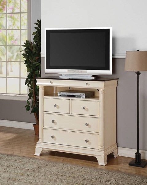 Tahira Transitional Ivory Cherry Wood TV Console ACM-24427