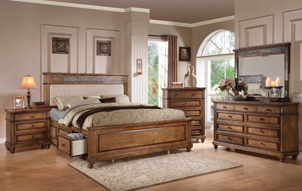 Arielle Craem Oak Wood 2pc Bedroom Set W/Queen Storage Bed ACM-244-BR-S4