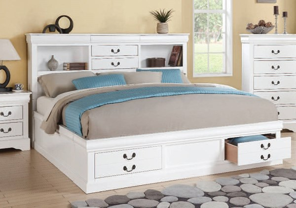 Louis Philippe III White Wood Queen Bed w/Storage ACM-24490Q