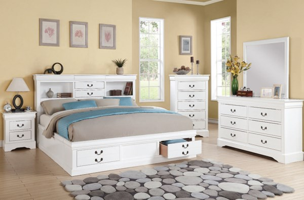 Louis Philippe III White Wood 2pc Bedroom Set W/Queen Storage Bed ACM-24484-BR-S3