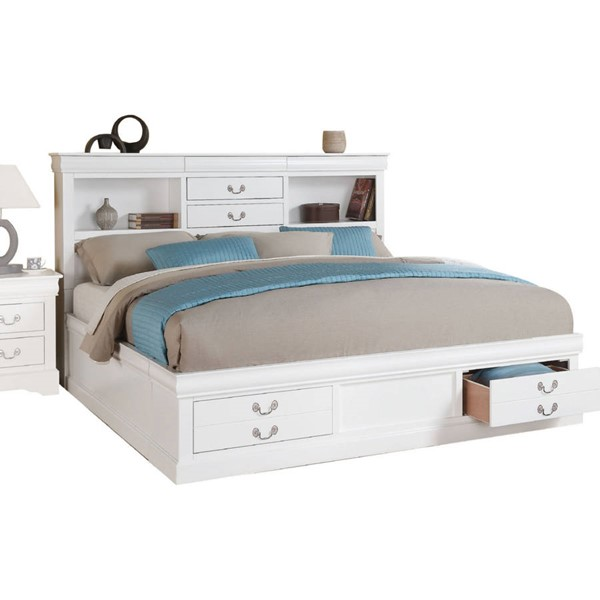 Acme Furniture Louis Philippe III White King Storage Bed ACM-24487EK