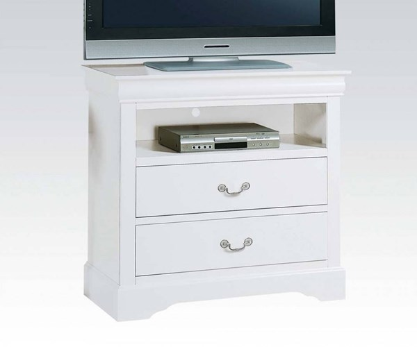Louis Philippe III Traditional White Wood TV Console ACM-24507