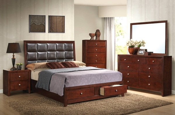 Ilana Contemporary Brown Cherry Wood PU 2pc Bedroom Set W/King Bed ACM-24587-BR-S1