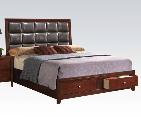 Ilana Contemporary Brown Cherry Wood Queen Bed w/Storage ACM-24590Q