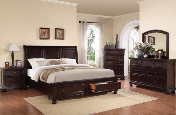 Grayson Classic Dark Walnut Wood 2pc Bedroom Set W/King Bed ACM-24604-BR-S2