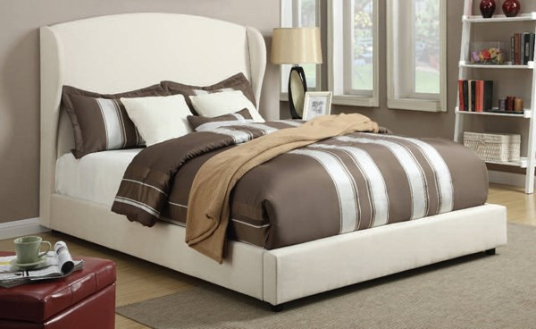 Caroline White Fabric Wood Platform Beds ACM-2463-64-VAR