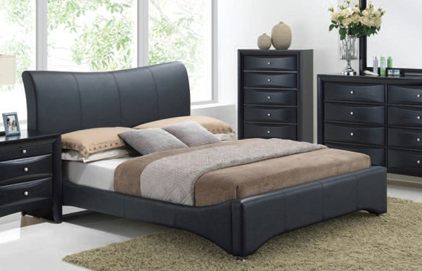 Harrison Contemporary Black PU Wood Queen Bed ACM-24660Q