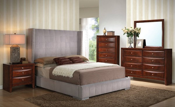 Melissa Gray Espresso Fabric Wood 2pc Bedroom Set W/King Bed ACM-24677-BR-S1