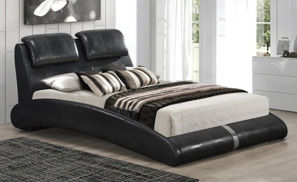 Louvain Black PU Wood Upholstered Queen Platform Bed ACM-24730Q