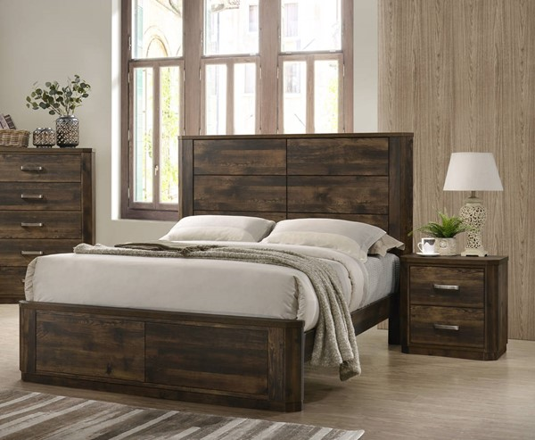 Acme Furniture Elettra Walnut Wood Veneer 2pc Bedroom Set with Queen Bed ACM-2484-BR-S2