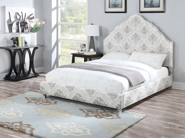 Clarisse Fabric Wood Queen Bed w/Low Profile Footboard ACM-25020Q