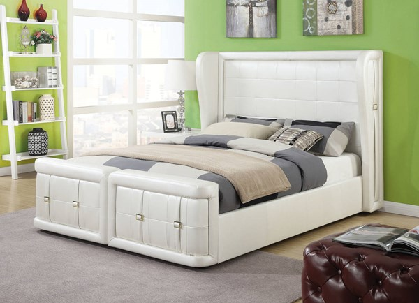 Linus Pearl White PU Wood Upholstered Beds ACM-25037-BED-VAR