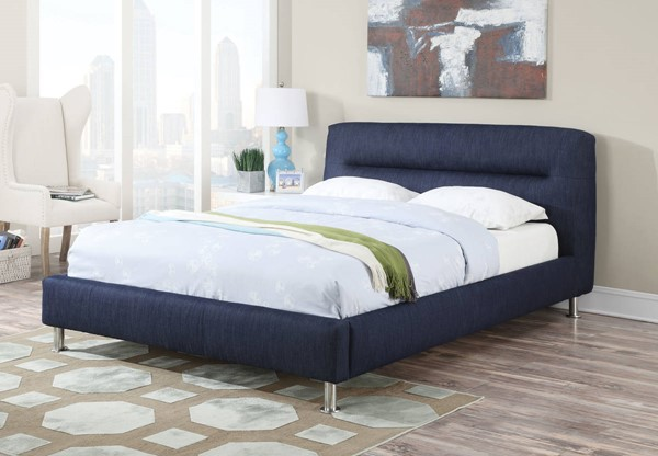 Adney Blue Fabric Chrome Beds w/Low Profile Footboard ACM-2506-BEDS-VAR