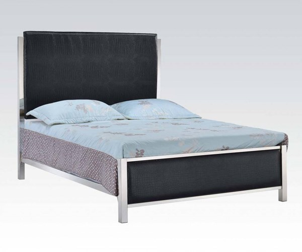 Johanna Black PU Metal Platform Queen Bed ACM-25090Q
