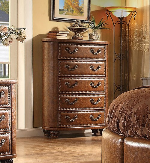 Varada Crescent Traditional Brown Antique Cherry PU Wood Chest ACM-25166