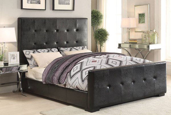 Lorelei Black PU Wood Beds w/Tufted Headboard ACM-252-BED-VAR
