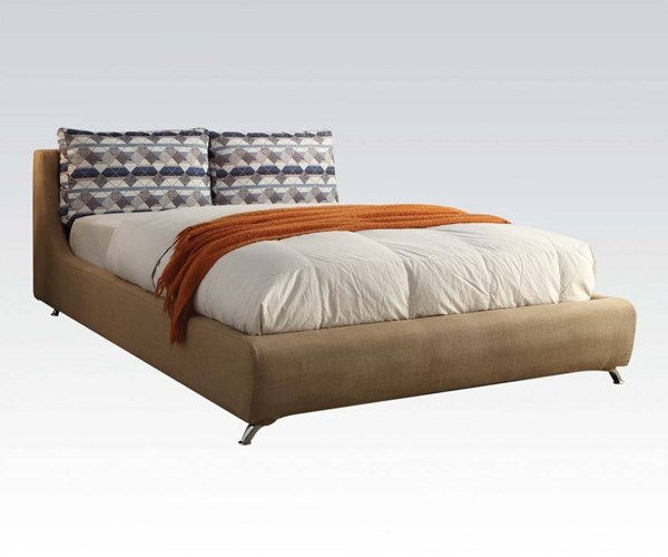 Lightriver Light Brown Fabric Wood Queen Bed ACM-25270Q