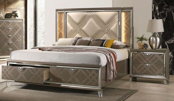Acme Furniture Skylar Dark Champagne 2pc Bedroom Set with King Storage Bed ACM-253-BR-S1
